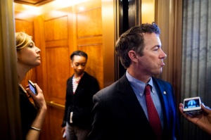 UNITED STATES - FEBRUARY 12: Sen. Rand Paul, R-Ky., speaks with reporters as he leaves the Senate Republicans' policy lunch in the Capitol on Tuesday, Feb. 12, 2013. (Photo By Bill Clark/CQ Roll Call)